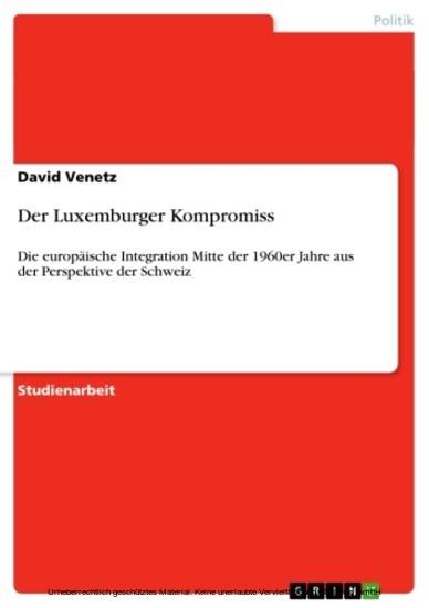 Der Luxemburger Kompromiss - Blick ins Buch