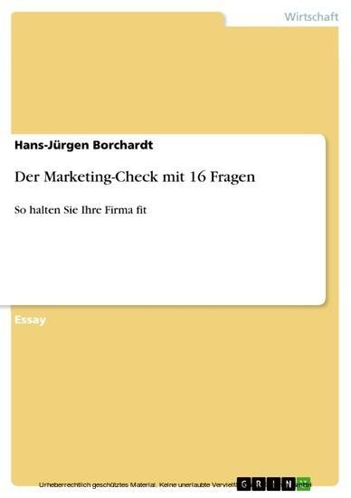 Der Marketing-Check mit 16 Fragen - Blick ins Buch