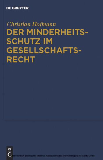 Der Minderheitsschutz im Gesellschaftsrecht - Blick ins Buch