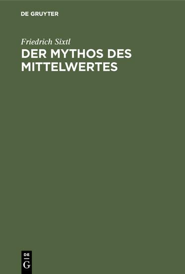 Der Mythos des Mittelwertes - Blick ins Buch