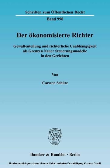 Der ökonomisierte Richter. - Blick ins Buch