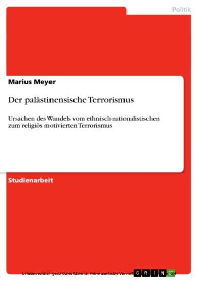 Der palästinensische Terrorismus - Blick ins Buch