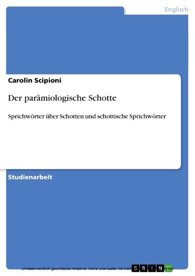 Der parämiologische Schotte - Blick ins Buch