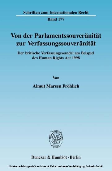 Von der Parlamentssouveränität zur Verfassungssouveränität. - Blick ins Buch