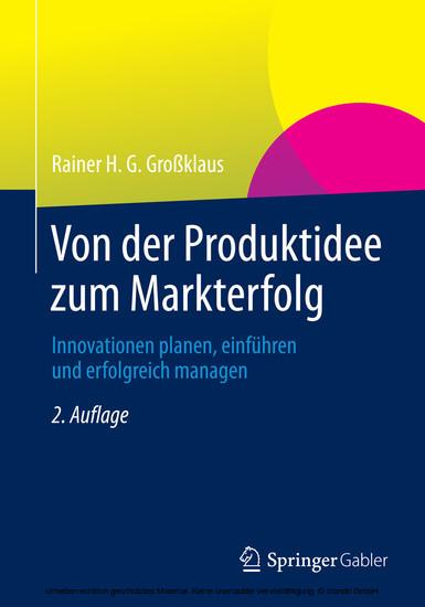 Von der Produktidee zum Markterfolg - Blick ins Buch