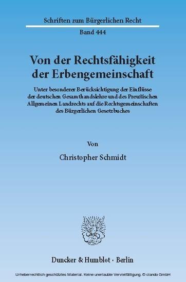 Von der Rechtsfähigkeit der Erbengemeinschaft. - Blick ins Buch