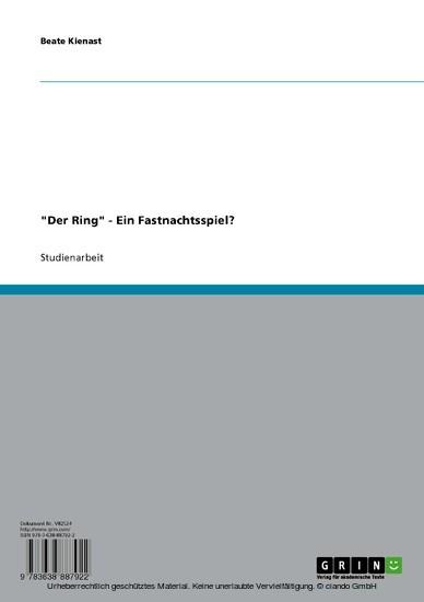 'Der Ring' - Ein Fastnachtsspiel? - Blick ins Buch