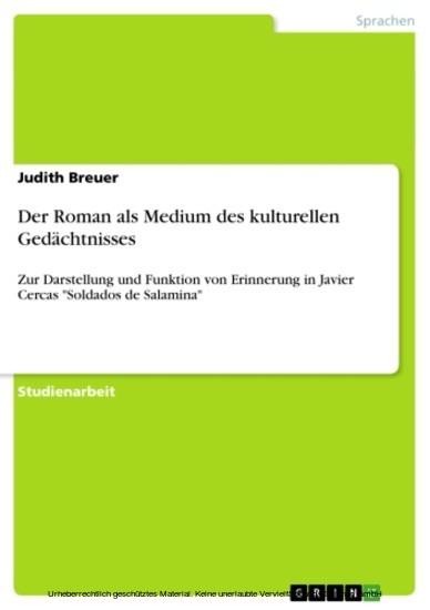 Der Roman als Medium des kulturellen Gedächtnisses - Blick ins Buch