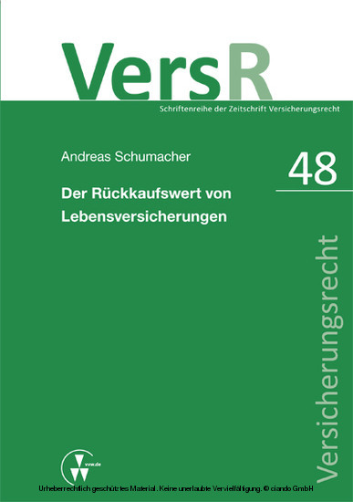 Der Rückkaufswert von Lebensversicherungen - Blick ins Buch