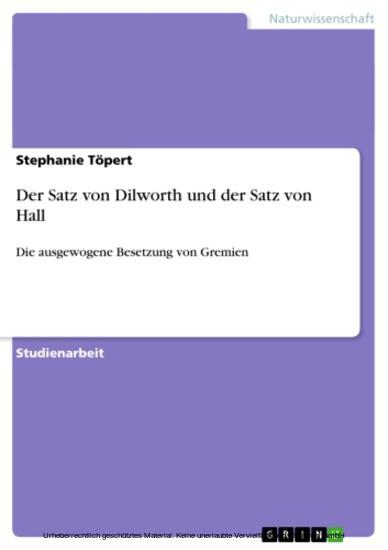 Der Satz von Dilworth und der Satz von Hall - Blick ins Buch