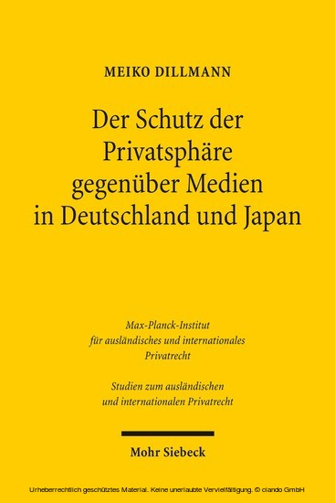 Der Schutz der Privatsphäre gegenüber Medien in Deutschland und Japan - Blick ins Buch