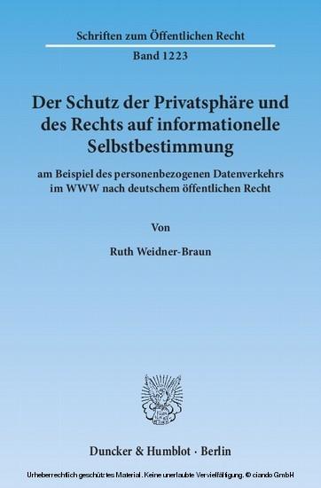 Der Schutz der Privatsphäre und des Rechts auf informationelle Selbstbestimmung - Blick ins Buch