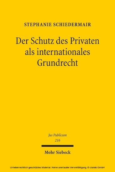 Der Schutz des Privaten als internationales Grundrecht - Blick ins Buch