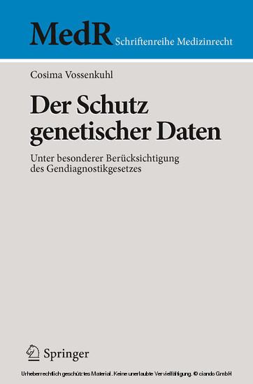 Der Schutz genetischer Daten - Blick ins Buch