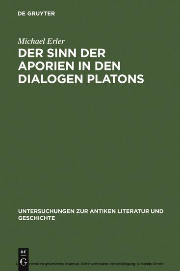 Der Sinn der Aporien in den Dialogen Platons - Blick ins Buch