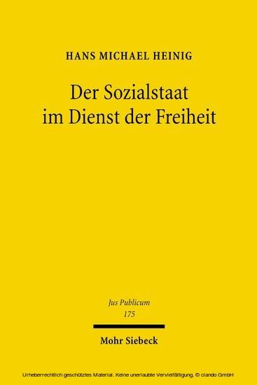 Der Sozialstaat im Dienst der Freiheit - Blick ins Buch