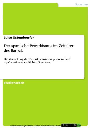 Der spanische Petrarkismus im Zeitalter des Barock - Blick ins Buch