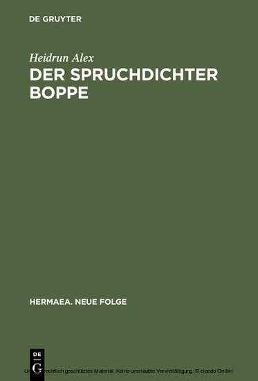 Der Spruchdichter Boppe - Blick ins Buch