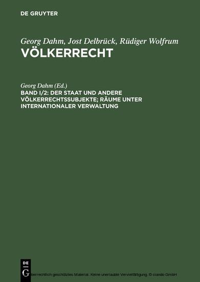 Der Staat und andere Völkerrechtssubjekte; Räume unter internationaler Verwaltung - Blick ins Buch