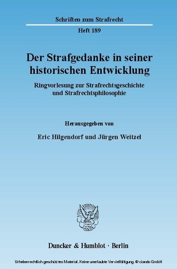 Der Strafgedanke in seiner historischen Entwicklung. - Blick ins Buch