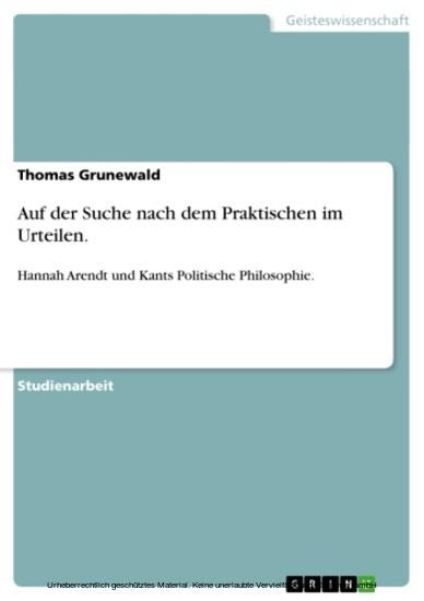 Auf der Suche nach dem Praktischen im Urteilen. - Blick ins Buch