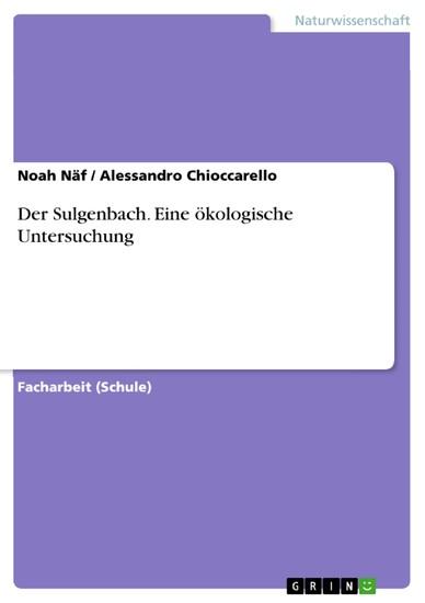 Der Sulgenbach. Eine ökologische Untersuchung - Blick ins Buch