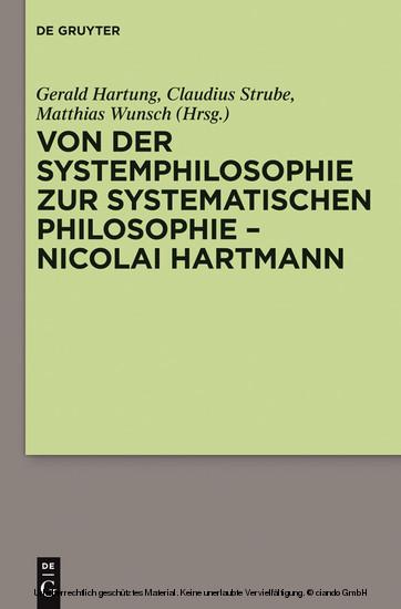 Von der Systemphilosophie zur systematischen Philosophie - Nicolai Hartmann - Blick ins Buch