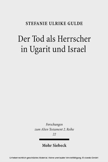 Der Tod als Herrscher in Ugarit und Israel - Blick ins Buch