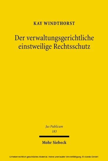 Der verwaltungsgerichtliche einstweilige Rechtsschutz - Blick ins Buch