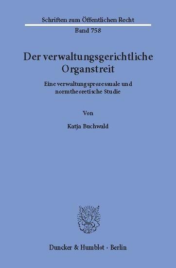 Der verwaltungsgerichtliche Organstreit. - Blick ins Buch