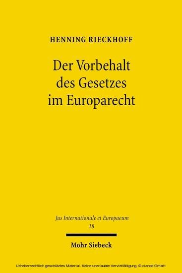 Der Vorbehalt des Gesetzes im Europarecht - Blick ins Buch