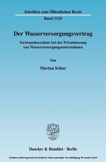 Der Wasserversorgungsvertrag. - Blick ins Buch