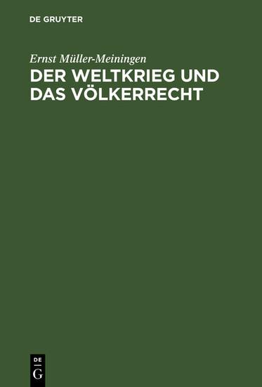 Der Weltkrieg und das Völkerrecht - Blick ins Buch