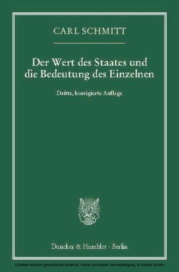 Der Wert des Staates und die Bedeutung des Einzelnen. - Blick ins Buch