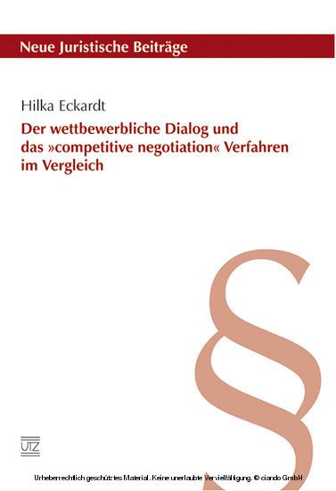 Der wettbewerbliche Dialog und das »competitive negotiation« Verfahren im Vergleich - Blick ins Buch