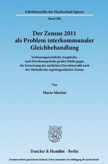 Der Zensus 2011 als Problem interkommunaler Gleichbehandlung. - Blick ins Buch