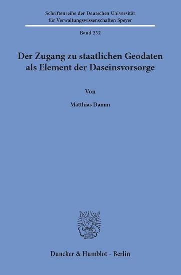 Der Zugang zu staatlichen Geodaten als Element der Daseinsvorsorge. - Blick ins Buch