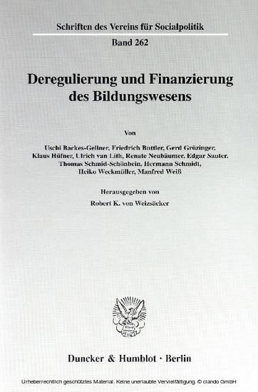 Deregulierung und Finanzierung des Bildungswesens. - Blick ins Buch