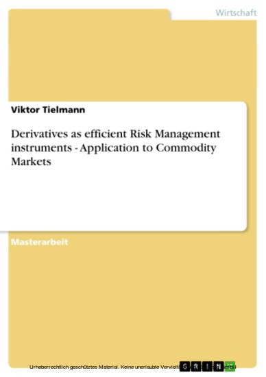 Derivatives as efficient Risk Management instruments - Application to Commodity Markets - Blick ins Buch