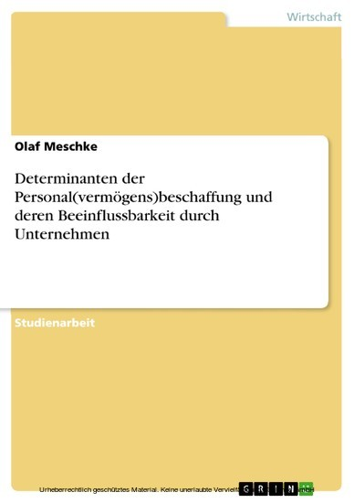 Determinanten der Personal(vermögens)beschaffung und deren Beeinflussbarkeit durch Unternehmen - Blick ins Buch