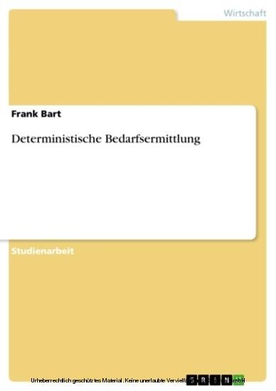 Deterministische Bedarfsermittlung - Blick ins Buch