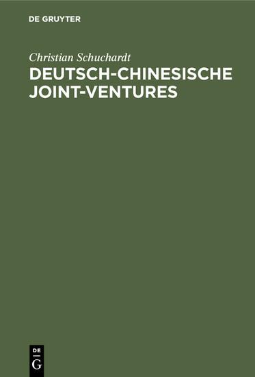 Deutsch-chinesische Joint-ventures - Blick ins Buch