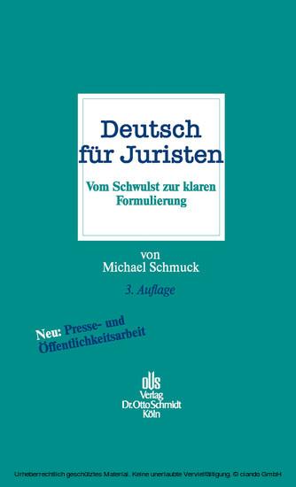 Deutsch für Juristen - Blick ins Buch