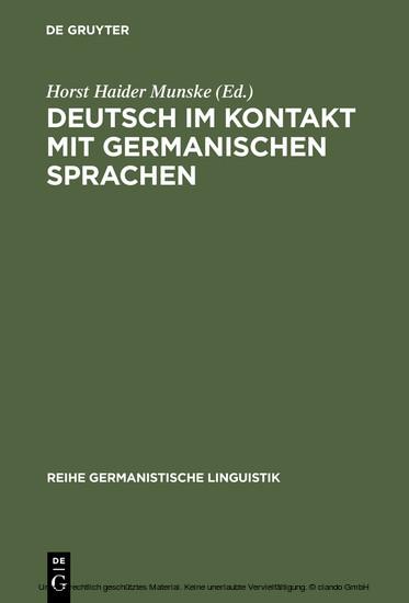 Deutsch im Kontakt mit germanischen Sprachen - Blick ins Buch