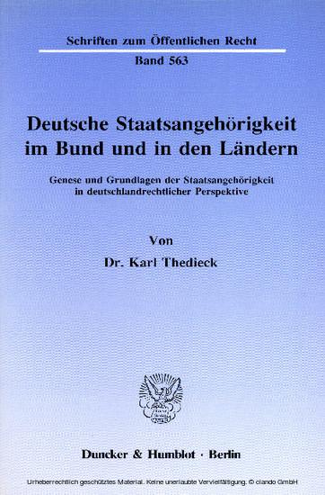 Deutsche Staatsangehörigkeit im Bund und in den Ländern. - Blick ins Buch