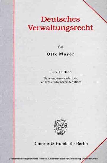 Deutsches Verwaltungsrecht. I. und II. Band. - Blick ins Buch