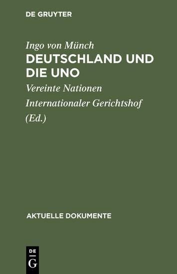 Deutschland und die UNO - Blick ins Buch