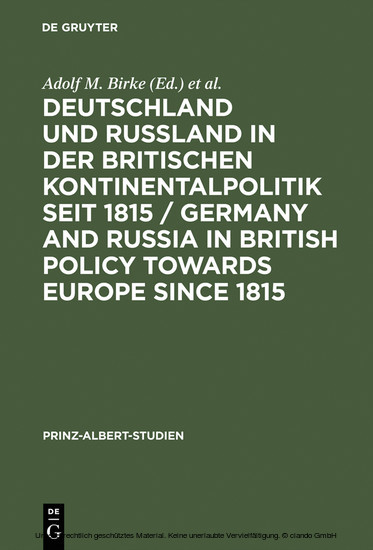 Deutschland und Rußland in der britischen Kontinentalpolitik seit 1815 / Germany and Russia in British policy towards Europe since 1815 / Germany and Russia in British Policy towards Europe since 1815 - Blick ins Buch