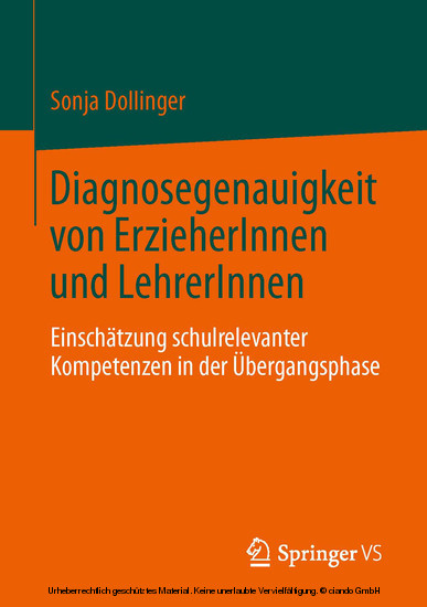 Diagnosegenauigkeit von ErzieherInnen und LehrerInnen - Blick ins Buch