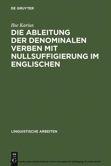 Die Ableitung der denominalen Verben mit Nullsuffigierung im Englischen - Blick ins Buch